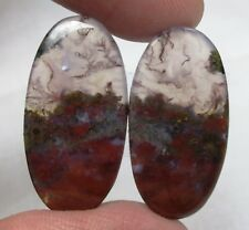NATURAL BLOOD STONE CABOCHON OVAL SHAPE PAIR 25.35 CTS LOOSE GEMSTONE D 4235