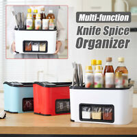 Multi-function Kitchen Condiment Storage With Knife Fork Holder Rack Space Save