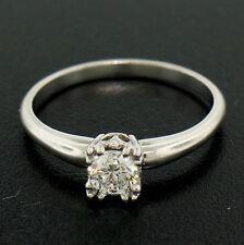Vintage Platinum .38ct F VVS2 Prong Round Brilliant Fiery Diamond Solitaire Ring