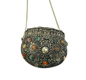 Vintage SAJAI Silver Plated Coin Purse Gemstones Handcrafted Antique Purse
