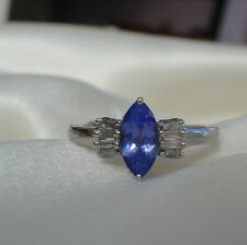 1.25ct AA Marquise Tanzanite & Diamond Gold Ring