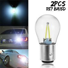 2x 1157 BA15D LED COB Lampe Ampoule Lumière Stop Feux Freinage Recul Blanc 12V