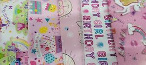 10 SHEETS OF THICK GLOSSY ASSORTED Girls/ CHILDREN'S BIRTHDAY WRAPPING PAPER