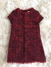New Zara Girls Tweed Button Back Shift Dress Size 8 Red