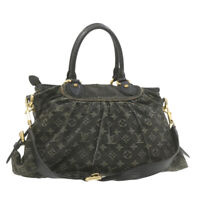 LOUIS VUITTON Monogram Denim Neo Cabby MM Hand Bag Black M95351 Auth 21129