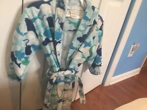 Steve Swim Boys White Green Blue Fish Terry Cloth Hooded Swim Bath Robe 7-8
