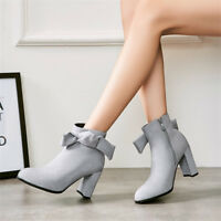 Womens Bowknot Ankle Boots Block Heel Solid Booties Pointed Toe Shoes Side Zip