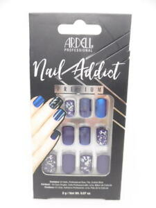 Ardell Professional Nail Addict Premium Artificial Nail Set, Matte Blue, 24 pcs