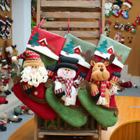 "18"" Large Christmas Decorations Stocking 3D Santa Snowman Reindeer Xmas Gift Bag"