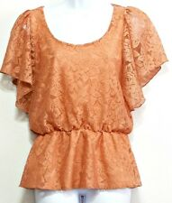 Rue 21 Ladies Ripe Peach Lace Butterfly Sleeve Polyester Shirt - Size M (8 - 10)