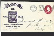 "PORTLAND, OREGON COVER,1910.  ADVT:  MONOPOLE, ""YELLOW PEACHES."""