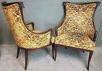 Pair of Antique Carved Mahogany French Empire Burnout Velvet Armchairs Epaulets