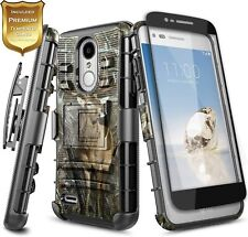 For LG Rebel 4 LTE/Phoenix 4 Case Holster Clip Kickstand Cover + Tempered Glass