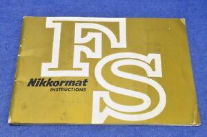 c1967 VERY RARE Nikon NIKKORMAT FS INSTRUCTION MANUAL EX+ OUT N MINT INSIDE VTG