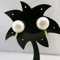Ohrclips mit echten großen Perlen 10mm Weiß vergoldet nickelfrei