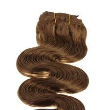 Clip In Extensions Haarverlängerung Echthaar gewellt 45cm #4 braun