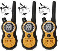 3 Motorola T8500R 2-Way Radio FRS GMRS WEATHER Walkie Talkie 53727 Earbuds +CASE