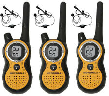 3 Motorola T8500R 2-Way Radio FRS GMRS WEATHER Walkie Talkie 53727 Earbuds +CASE