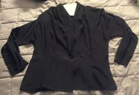 Vintage Lillie Langtry black shawl collar over blouse 1 button polyester Large