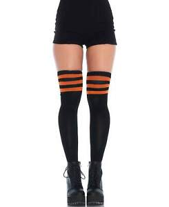 Black And Orange Athletic Ribbed Thigh High Stockings - Leg Avenue 6605