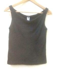 Gap Black Shimmer Drape Neck Tank Top Size XS cotton stretch built in shelf bra
