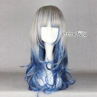 "23.6"" Ladies Lolita Long Greyish Mixed Blue Wavy Curly Fancy Dress Hair Full Wig"