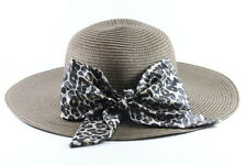 BROWN LADIES STRAW DERBY HAT WITH LEOPARD PRINT RIBBON UNIQUE (HT24)