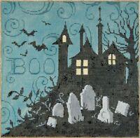 Needlepoint Handpainted Sandra Gilmore HALLOWEEN Graveyard 9x9