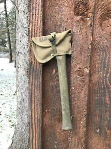 WWII WW2 Green US Army Axe Hatchet W/ Cover Dated 1944 Amber Fab Co. NO RESERVE