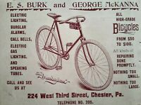 1895 Burk McKanna Bicycle Store Art Chester Pennsylvania Vintage Print Ad