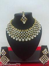 Indian Ethnic Gold Tone Bollywood Bridal Designer Yellow Jewelry Necklace Set
