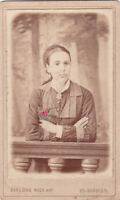 1890s CDV Pretty young woman girl w/ flower hand tinted Russian antique photo