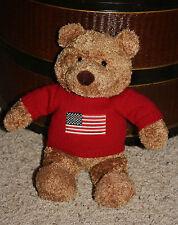 "2001 PROFFITTS Plush Teddy Bear SAKS Red American Flag Sweater 12""  EUC!  K1"