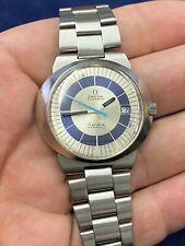 Rare Mens Vintage OMEGA Dynamic Watch Blue White Dial Original Strap Stainless