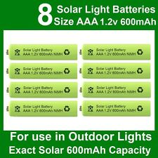 8 x AAA 1.2V 600mAh NiMH Rechargeable Batteries for Garden Solar Lights (NiCd)