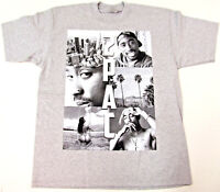 28f13f31e TUPAC SHAKUR T-shirt 2Pac Cali West Coast Rap Hip Hop Tee Adult Men Gray