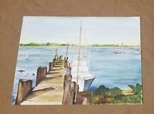 Vintage Original Signed Watercolor Painting Fishing Pier Sail Boats Dock Seagull
