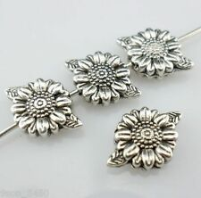 16pcs Tibetan Silver Sunflower Flower Spacer Beads Jewelry Charm Making 8x13mm