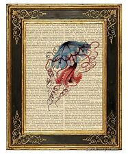 Jellyfish Art Print on Antique Book Page Vintage Illustration Discomedusae 4