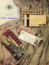 PUBLICITE MENIER CHOCOLAT BAGATELLES CERISE NOIX CHOCOLATIER DE 1950 FRENCH AD