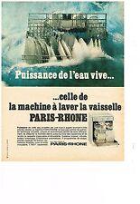 publicité advertising  1968   PARIS-RHONE  lave vaisselle