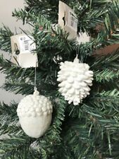2 x Large White Pinecone Acorn Natural Christmas Tree Decorations Glitter Finish