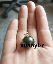 Hot Huge AAA 16mm South Sea Black Shell Pearl Pendant 14k