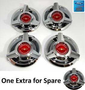 (Set/5) Wire Wheel Spinner Center Caps for 1962-1963 Ford Thunderbird Red Logo