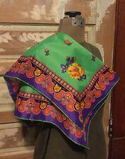 Giorgio di Sant' Angelo Silk Scarf Bright Floral Design Egyptian Inspired Border