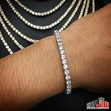 "White Gold Lab Simulated Diamond One 1 Row Tennis Bracelet Mens Prong Set 8"""
