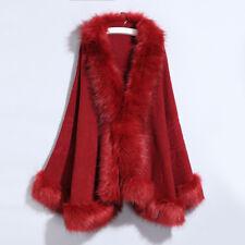 54727748cb2 Lady Acrylic Jacket Faux Fox Fur Collar Shawl Cloak Cape Coat Poncho  Outwear New