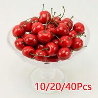Plastic Cherry Fruit Fake For Kitchen Foods Decor Photography Prop 10/20/40 PCS