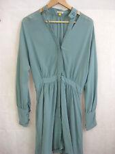 Leifsdottir Size 4 Teal Cutout silk button up dress