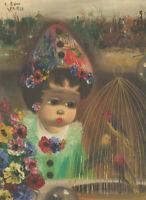 S. Reno - Parisian Mid 20th Century Oil, Clown with Bird Cage